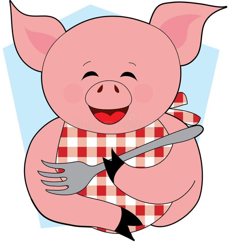 szczęśliwej jeść świnię royalty ilustracja