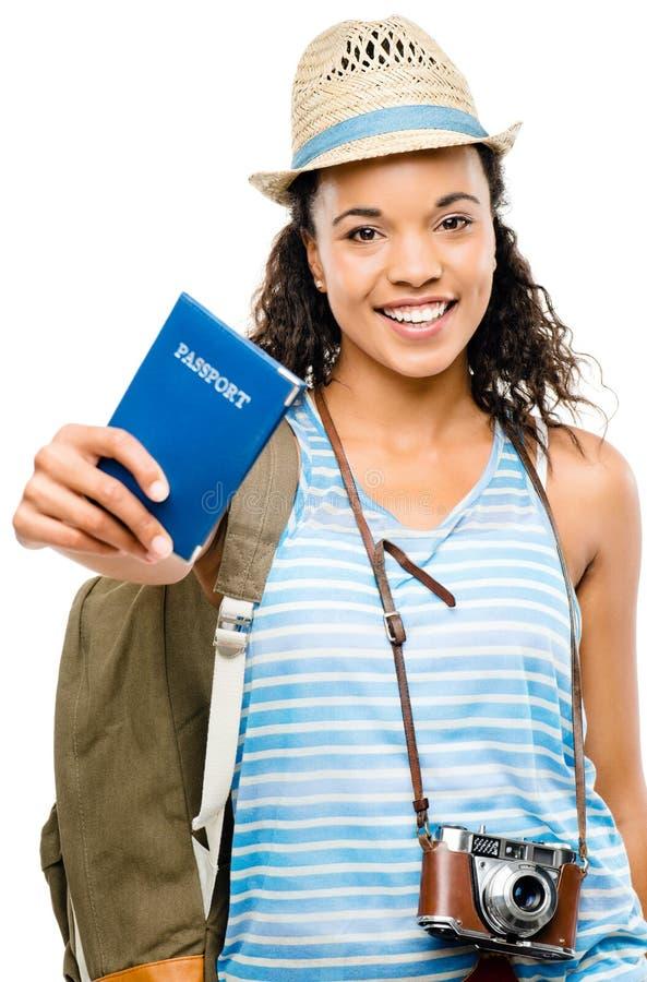 Szczęśliwej kobiety mienia turystyczny paszport obraz royalty free