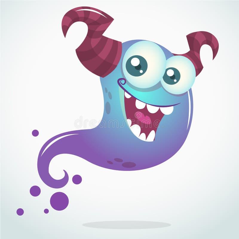 Szczęśliwej kreskówki błękitny duch z dwa rogami i dużymi oczami Wektorowy Halloweenowy charakter royalty ilustracja