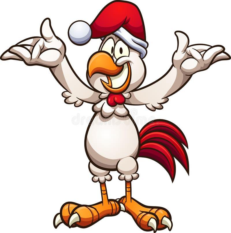 Szczęśliwej kreskówki Bożenarodzeniowy kurczak z rękami w górę royalty ilustracja