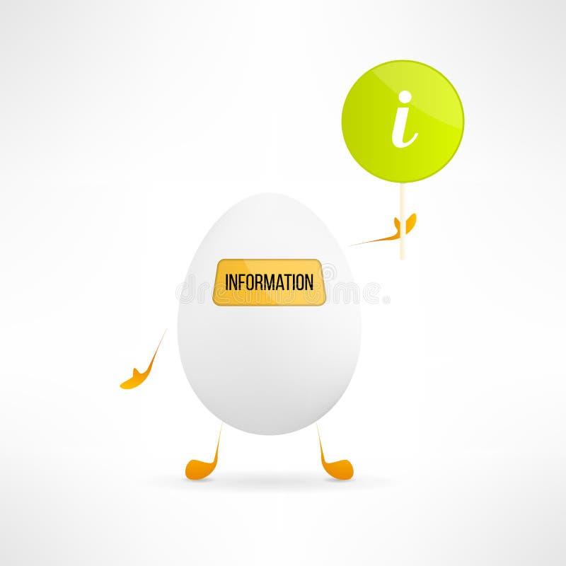Szczęśliwej kreskówki jajeczna istota z informacja znakiem royalty ilustracja