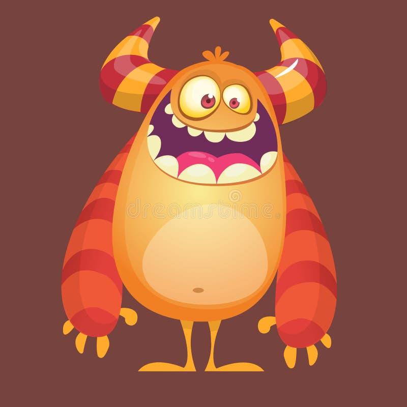 Szczęśliwej kreskówki owłosiony potwór Pomarańczowy wektorowy błyszczka charakter Projekt dla ikony, emblemata, majcheru lub dzie ilustracja wektor
