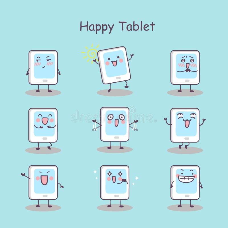 Szczęśliwej kreskówki pastylki cyfrowy komputer osobisty ilustracji
