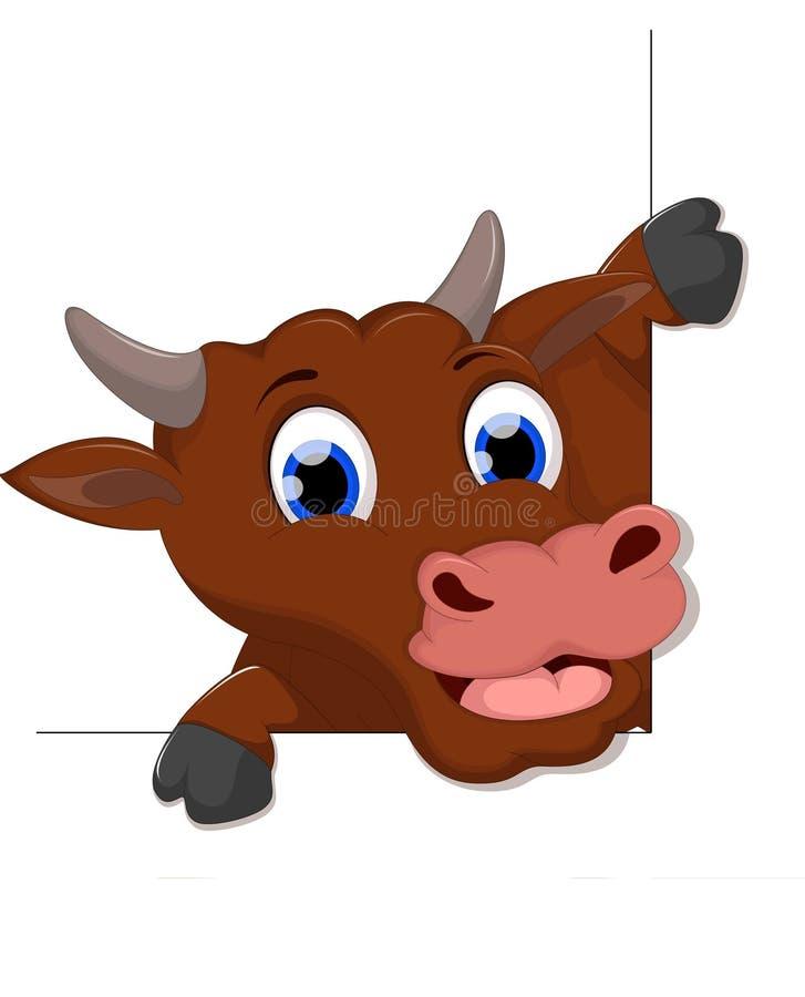 Szczęśliwej krowa uśmiechu kreskówki biały tło dla ciebie projektuje royalty ilustracja