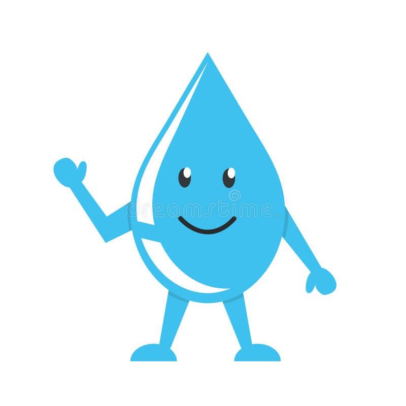 Szczęśliwej małej wody kropli śliczny charakter, odizolowywający w białym tle Światu Wodny dzień również zwrócić corel ilustracji ilustracji