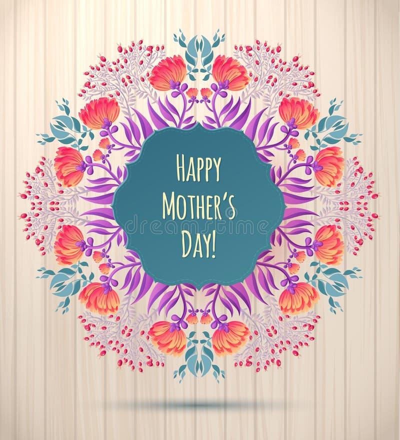szczęśliwej matki karciany dzień s Kwiecisty wianek na Drewnianym tle ilustracji