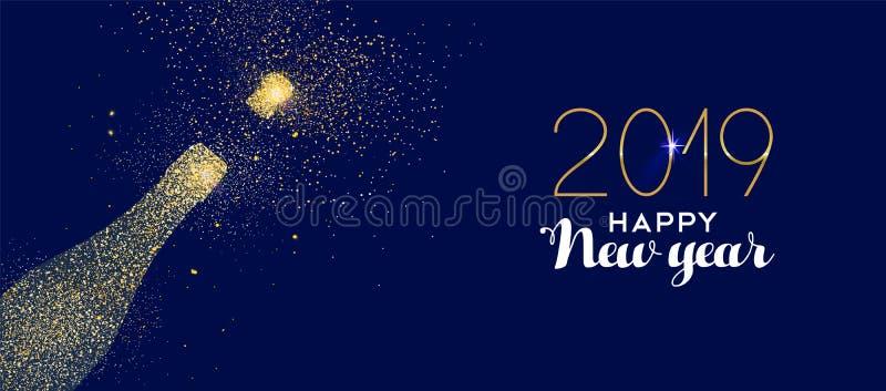 Szczęśliwej nowego roku 2019 złocistej błyskotliwości szampańska butelka royalty ilustracja