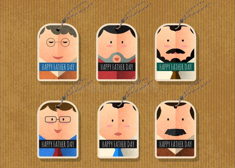 Szczęśliwej ojca ` s dnia wektorowej etykietki charakteru prosta kolekcja royalty ilustracja