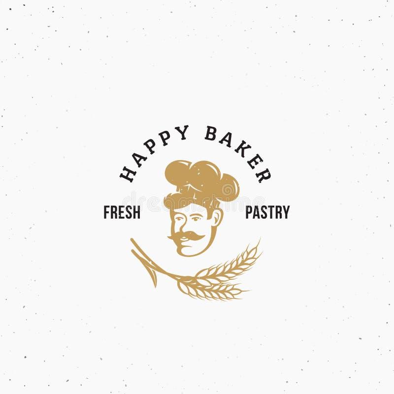 Szczęśliwej Piekarnianej premii ciasta Wektorowy emblemat, znak lub loga szablon, Szef kuchni w Kucbarskiej Kapeluszowej sylwetce ilustracji