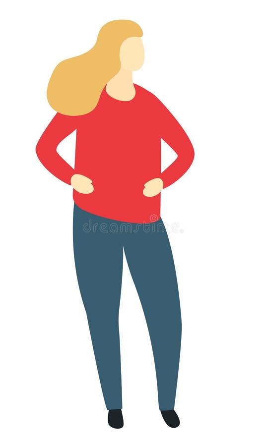 Szczęśliwej przypadkowej kobiety pozycji pozy blondynki damy żeńska postać z kreskówki folował długości mieszkanie ilustracji