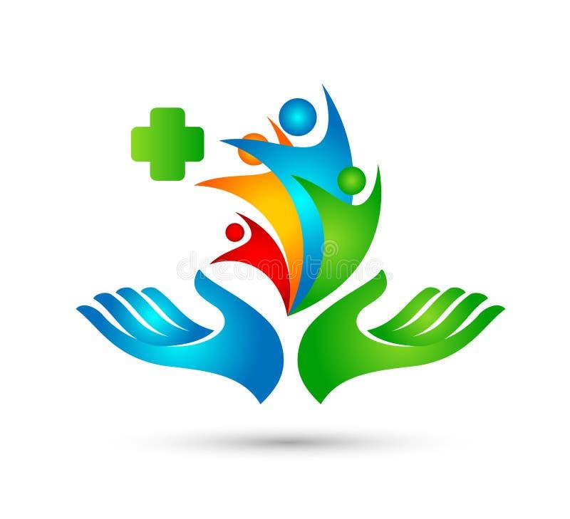 Szczęśliwej Rodzinnej opieki zdrowotnej logo ręk rodziny zieleni logo zrzeszeniowi ludzie royalty ilustracja