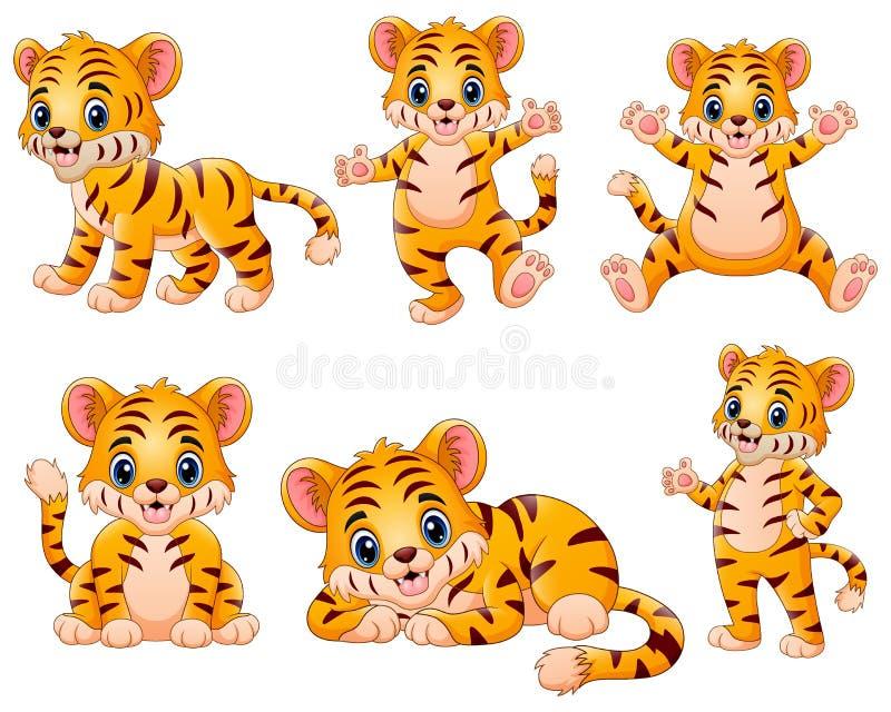 Szczęśliwej tygrysiej kreskówki ustalona kolekcja ilustracji
