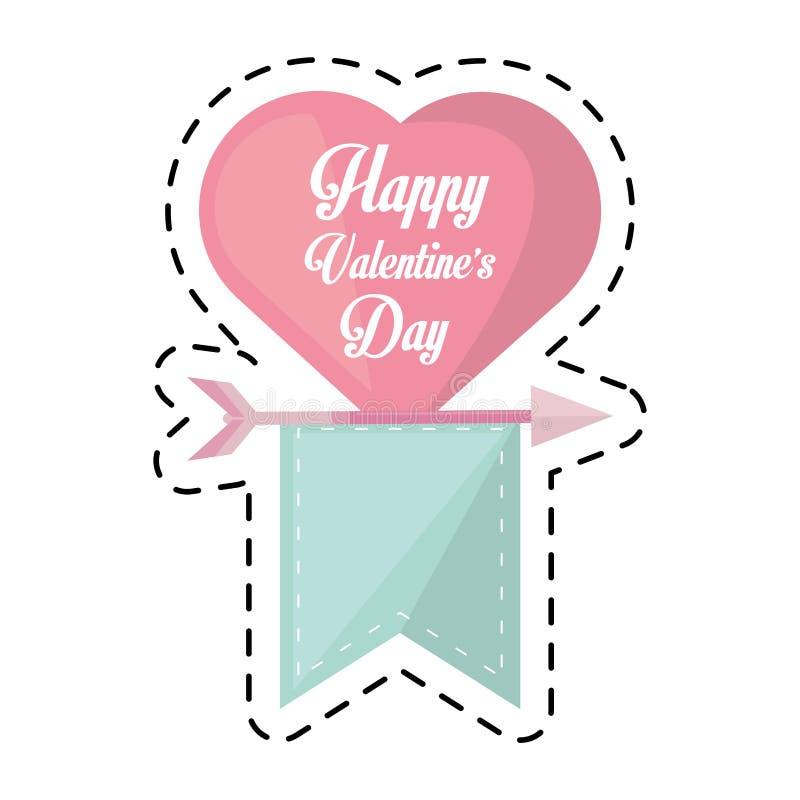 Szczęśliwej valentines dnia karty faborku cięcia kierowa wisząca linia ilustracja wektor