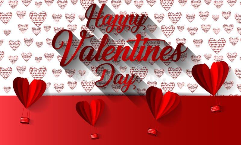 Szczęśliwej valentines dnia typografii wektorowy projekt z papierowym rżniętym czerwonym kierowym kształta gorącym powietrzem szy royalty ilustracja