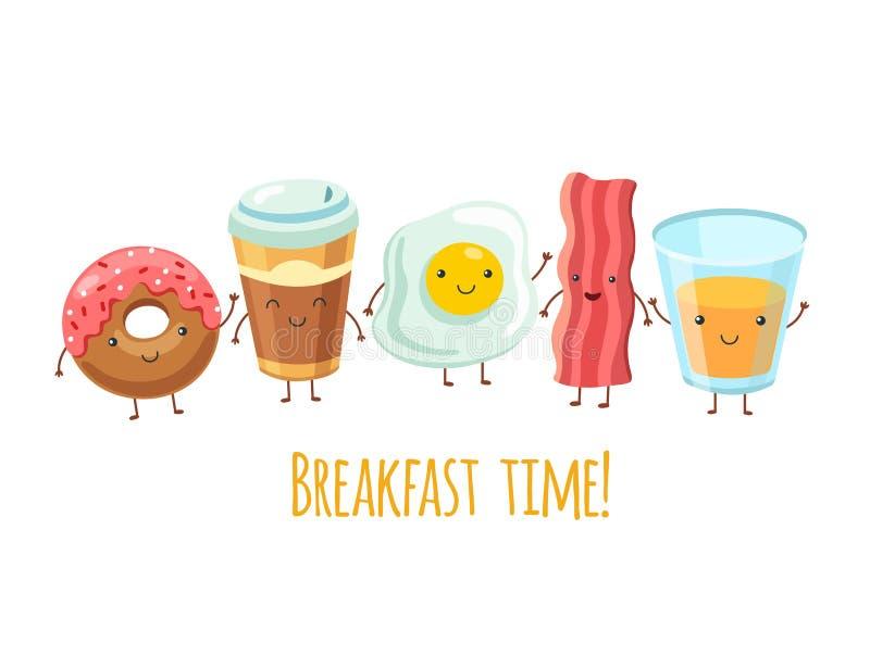 Szczęśliwi śniadaniowi charaktery Jajeczna kanapki kawa Śniadaniowy posiłek smażący bekon Kreskówka przyjaciół wektoru śmieszny k royalty ilustracja