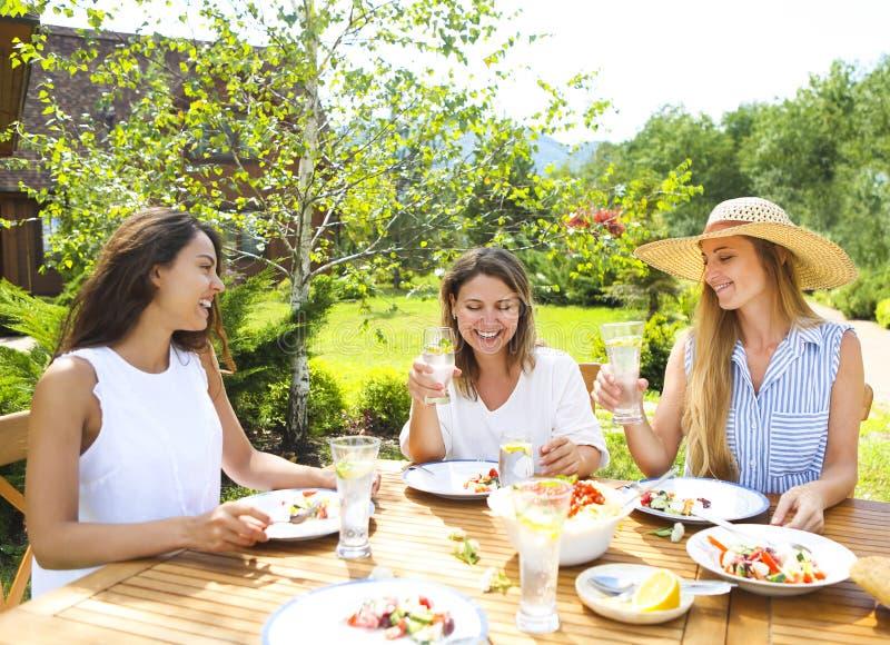 Szczęśliwi żeńscy przyjaciele z szkłami lemoniada przy łomotać stół zdjęcie royalty free