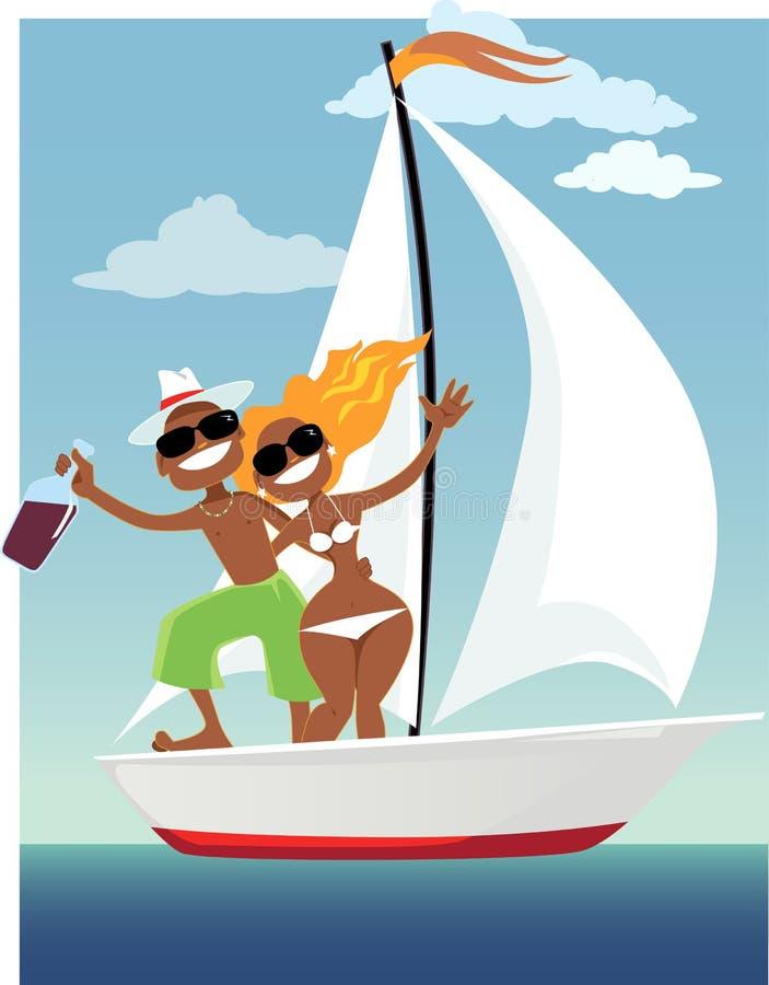 Szczęśliwi żeglarzi royalty ilustracja