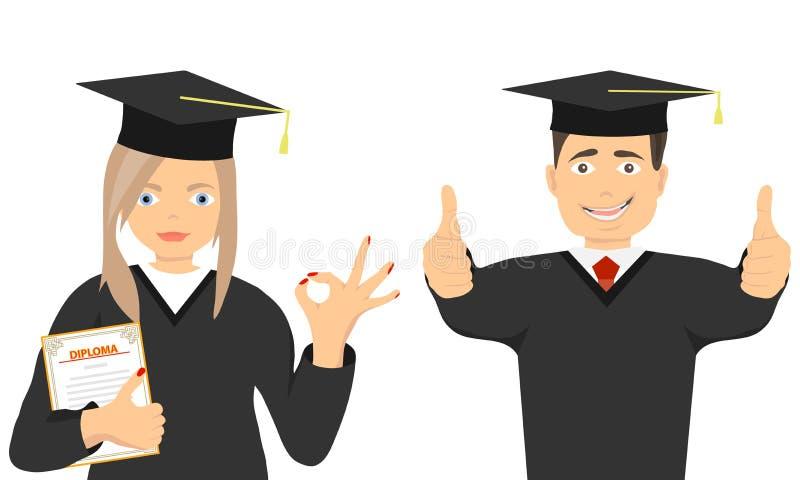 Szczęśliwi absolwenci w togach z dyplomem i Absolwent i absolwent w togach royalty ilustracja