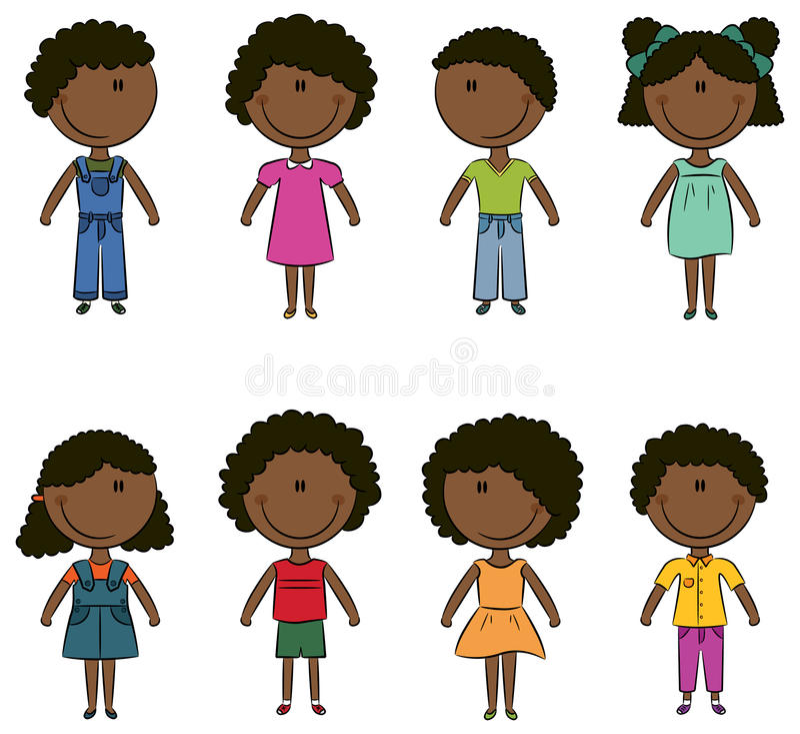 szczęśliwi Amerykanin afrykańskiego pochodzenia dzieciaki ilustracji