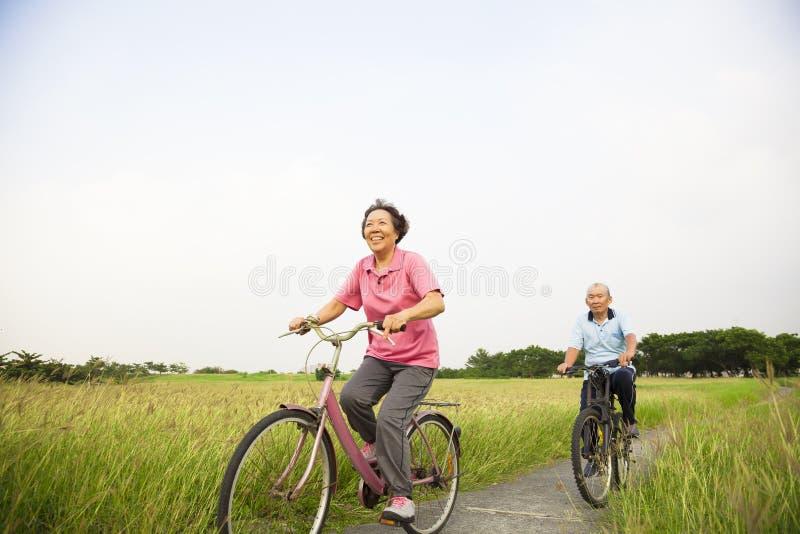 Szczęśliwi Azjatyccy starsi seniory dobierają się jechać na rowerze w parku z błękitem obraz royalty free