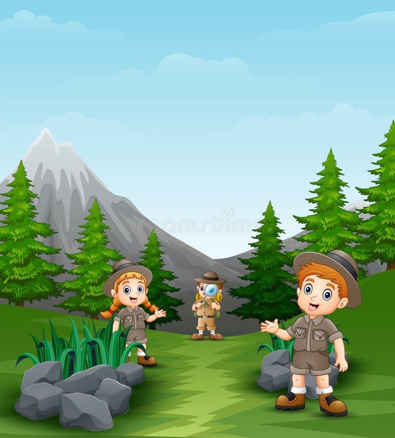 Szczęśliwi badaczów dzieciaki w pięknym krajobrazie ilustracja wektor