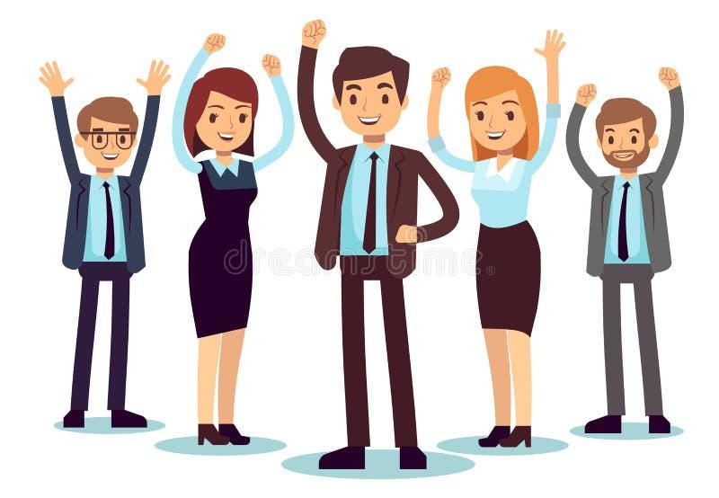 Szczęśliwi biurowi ludzie Pomyślny biznesowego mężczyzna i kobiety wektoru charakter ilustracji