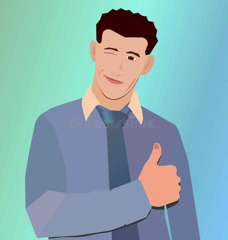 Szczęśliwi biznesmenów mrugnięcia, ręka z kciukiem up i ilustracja wektor
