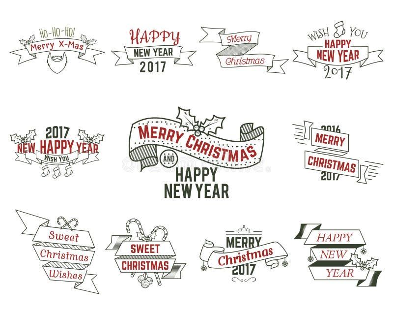 Szczęśliwi boże narodzenia życzą kolekcję z faborkami i wakacji symbolami, elementy - Santa broda, cukierki, drzewo, zabawki retr royalty ilustracja