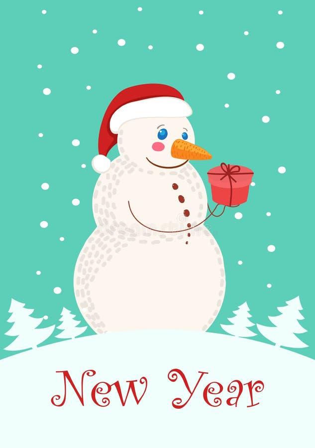 Szczęśliwi boże narodzenia i nowy rok, powitanie kartka bożonarodzeniowa z ślicznym bałwanem royalty ilustracja