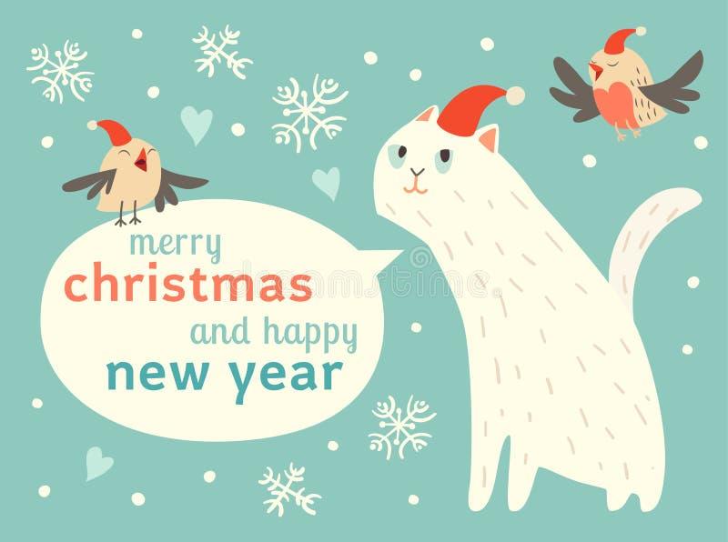 Szczęśliwi boże narodzenia i Szczęśliwa nowy rok karta z ślicznymi kotami i ptakami w Santa kapeluszu royalty ilustracja