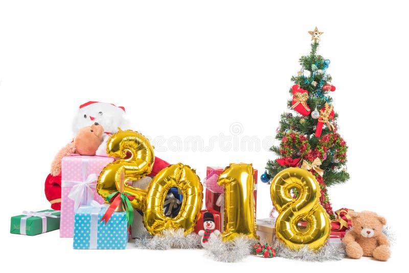 2018 szczęśliwi bożych narodzeń pojęć z giftes i nowy rok, teraźniejszość, fotografia royalty free