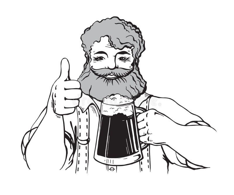 Szczęśliwi charaktery trzyma kubek piwo pełno royalty ilustracja