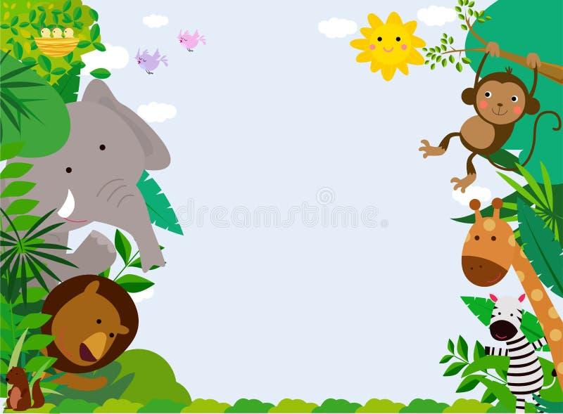 Szczęśliwi dżungli zwierzęta z kopii przestrzenią royalty ilustracja