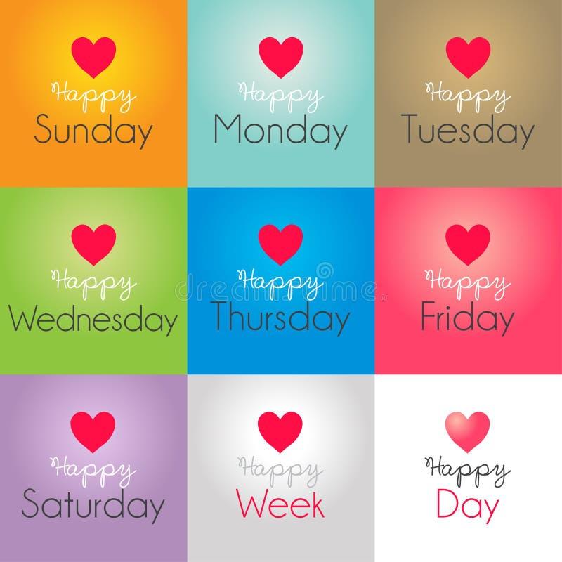 Szczęśliwi dni tygodnia ilustracja wektor
