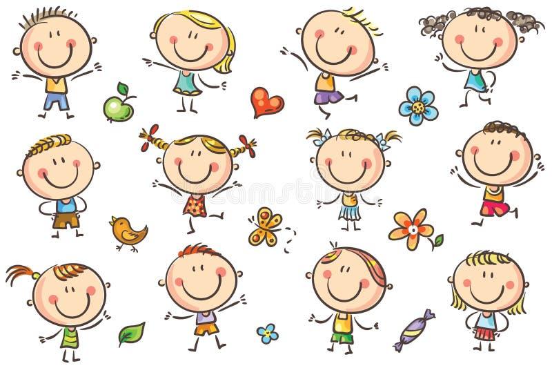 szczęśliwi doodle dzieciaki ilustracji