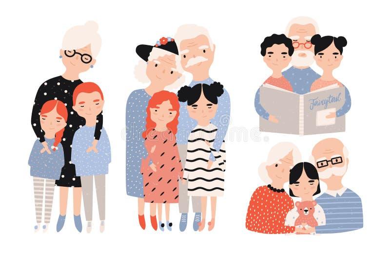 Szczęśliwi dziadkowie z wnukami ustawiającymi Ręki rysować kreskówek ilustracje inkasowe ilustracji