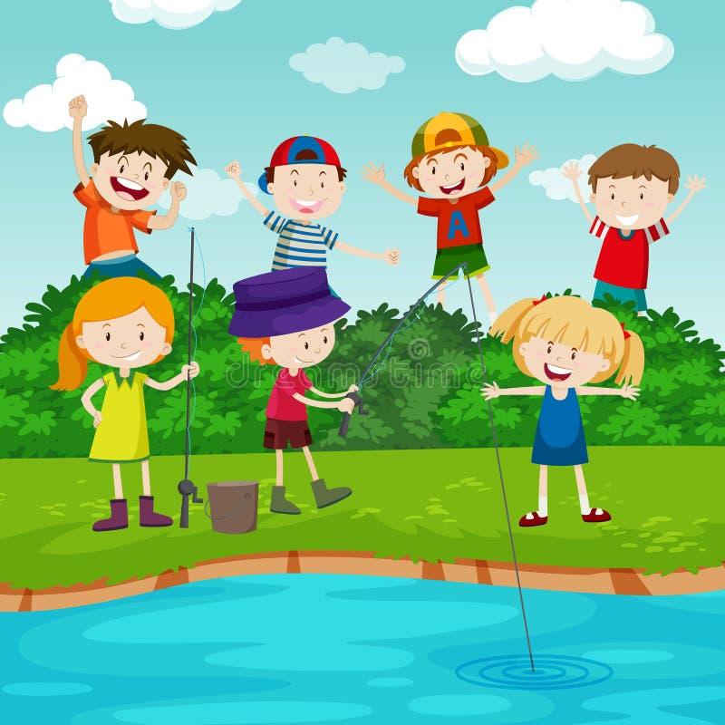 Szczęśliwi dzieci łowi w parku ilustracja wektor