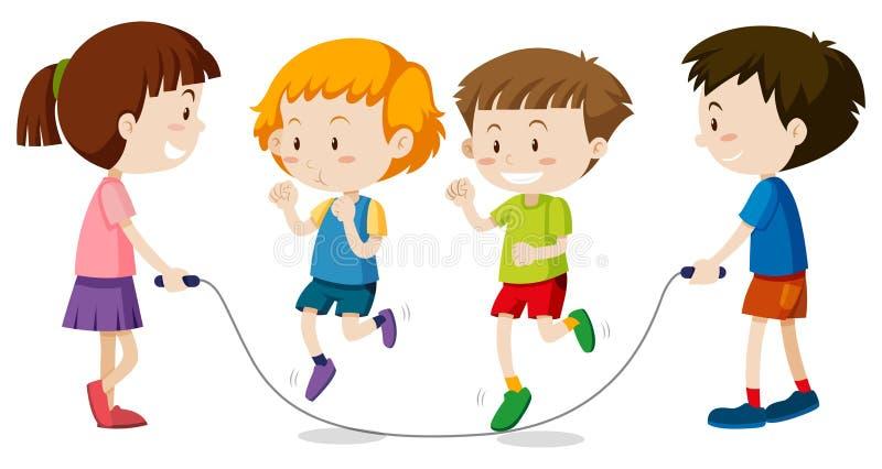 Szczęśliwi dzieci bawić się jumprope ilustracji