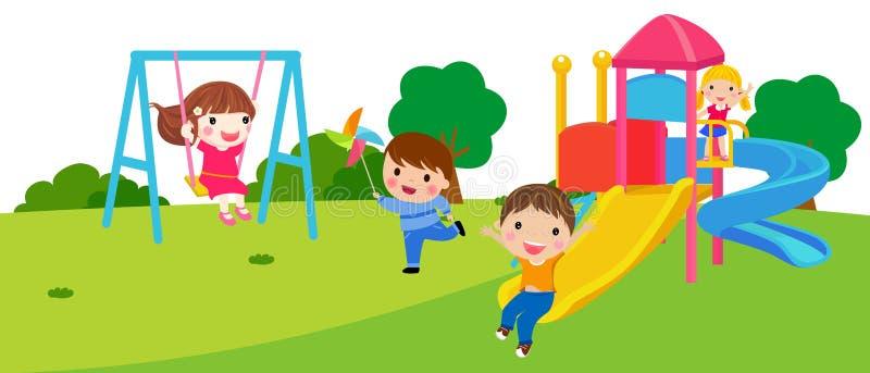 Szczęśliwi dzieci bawić się w parku ilustracja wektor