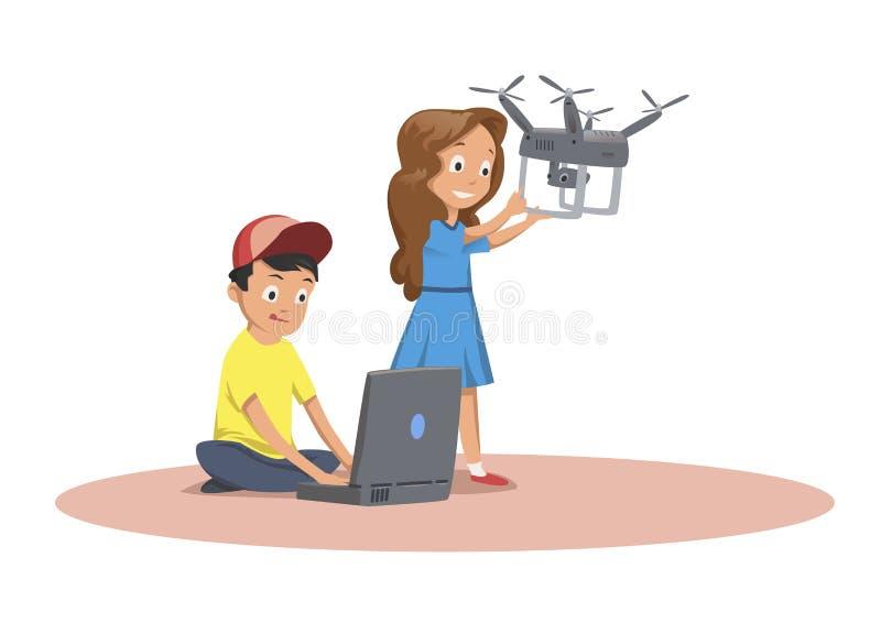 Szczęśliwi dzieci bawić się z latającym trutniem Kreskówki Wektorowa ilustracja odizolowywająca na białym tle ilustracji