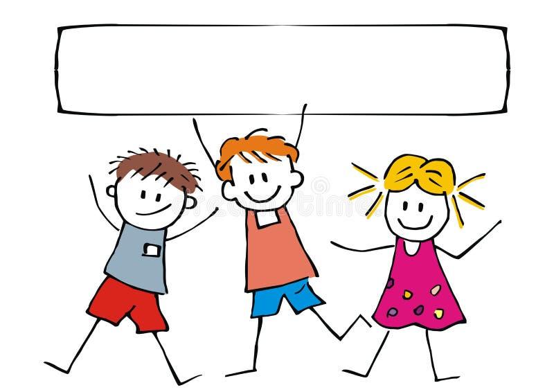 Szczęśliwi dzieci i sztandar, trzy rozochoconego dzieciaka na białym tle, wektorowa śmieszna ilustracja ilustracja wektor