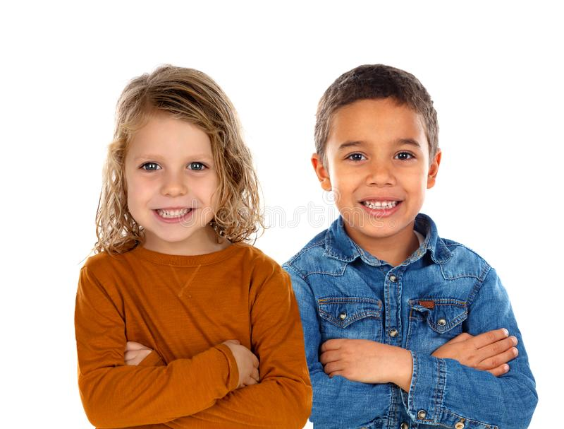 Szczęśliwi dzieci patrzeje kamerę zdjęcie stock