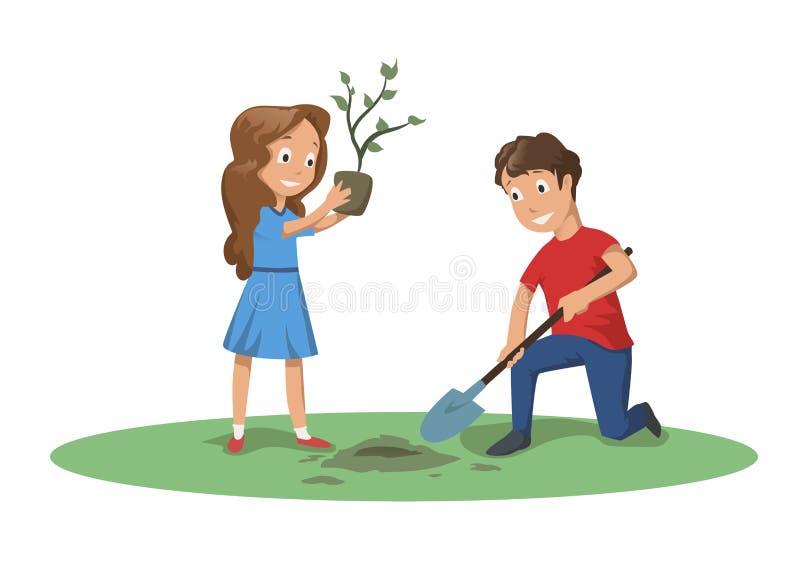 Szczęśliwi dzieci pracuje w ogródzie lub w parku Chłopiec i dziewczyna zasadzamy drzewa Kreskówki wektorowa ilustracja odizolowyw royalty ilustracja