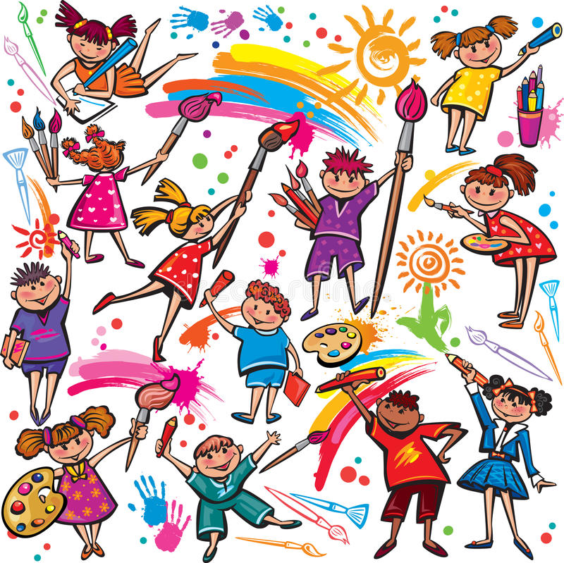 Szczęśliwi dzieci rysuje z muśnięciem i kredkami ilustracja wektor