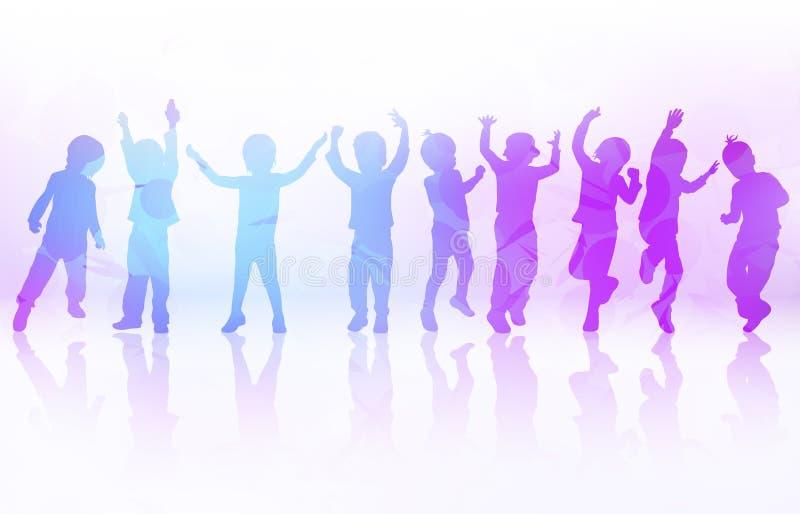 Szczęśliwi dzieci tanczy wpólnie royalty ilustracja