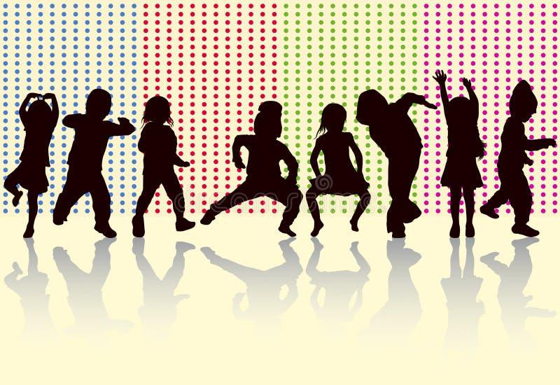 Szczęśliwi dzieci tanczy wpólnie ilustracja wektor