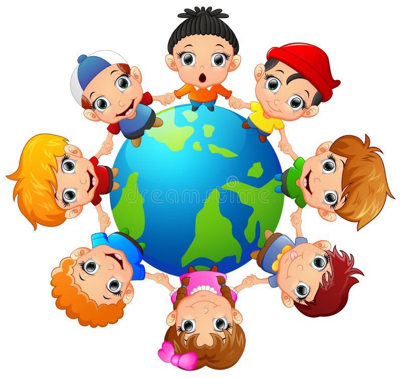 Szczęśliwi dzieci trzyma rękę dalej wokoło ziemi ilustracja wektor