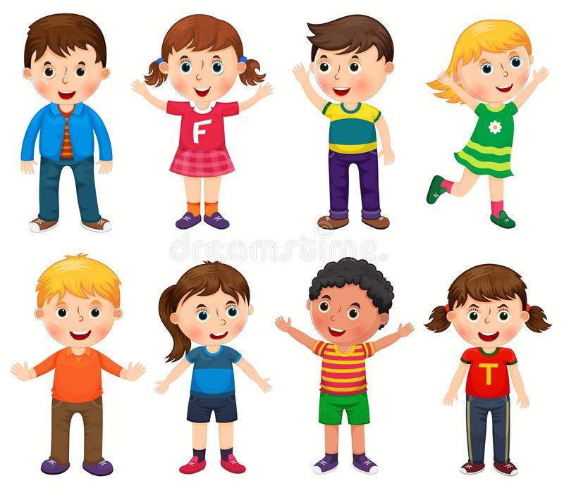 Szczęśliwi dzieci w różnym pozycja wektorze royalty ilustracja