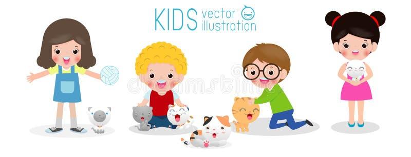 Szczęśliwi dzieci z kotem, set, chłopiec i dziewczyna z kiciunią, dzieciaki i figlarka, kreskówka styl, odizolowywający na białym ilustracji