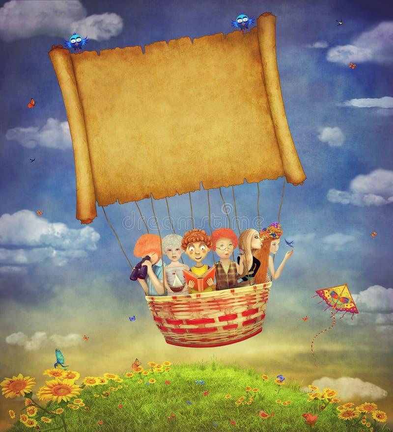 Szczęśliwi dzieci z sztandarem w niebie royalty ilustracja